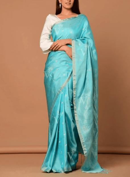 Aqua Blue Banarasi Silk Floral Botti Saree