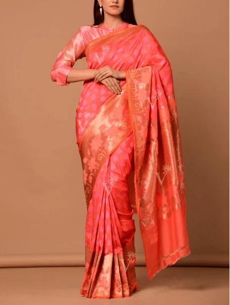Pink And Peach Banarasi Silk Two-Tone Saree